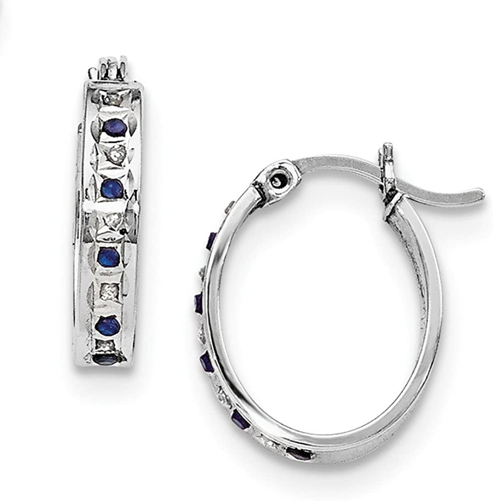 925 Sterling Silver /& Platinum-plated Diamond /& Sapphire Oval Hoop Earring