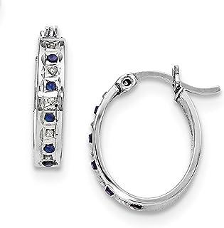 Platino argento Sterling 925diamante zaffiro ovale orecchini a cerchio