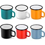 P&P CHEF Enamel Camping Coffee Mug Set of 6, Small Colored Mugs Cups for Family Gathering/Friend Party/Camping/Picnic/Fishing