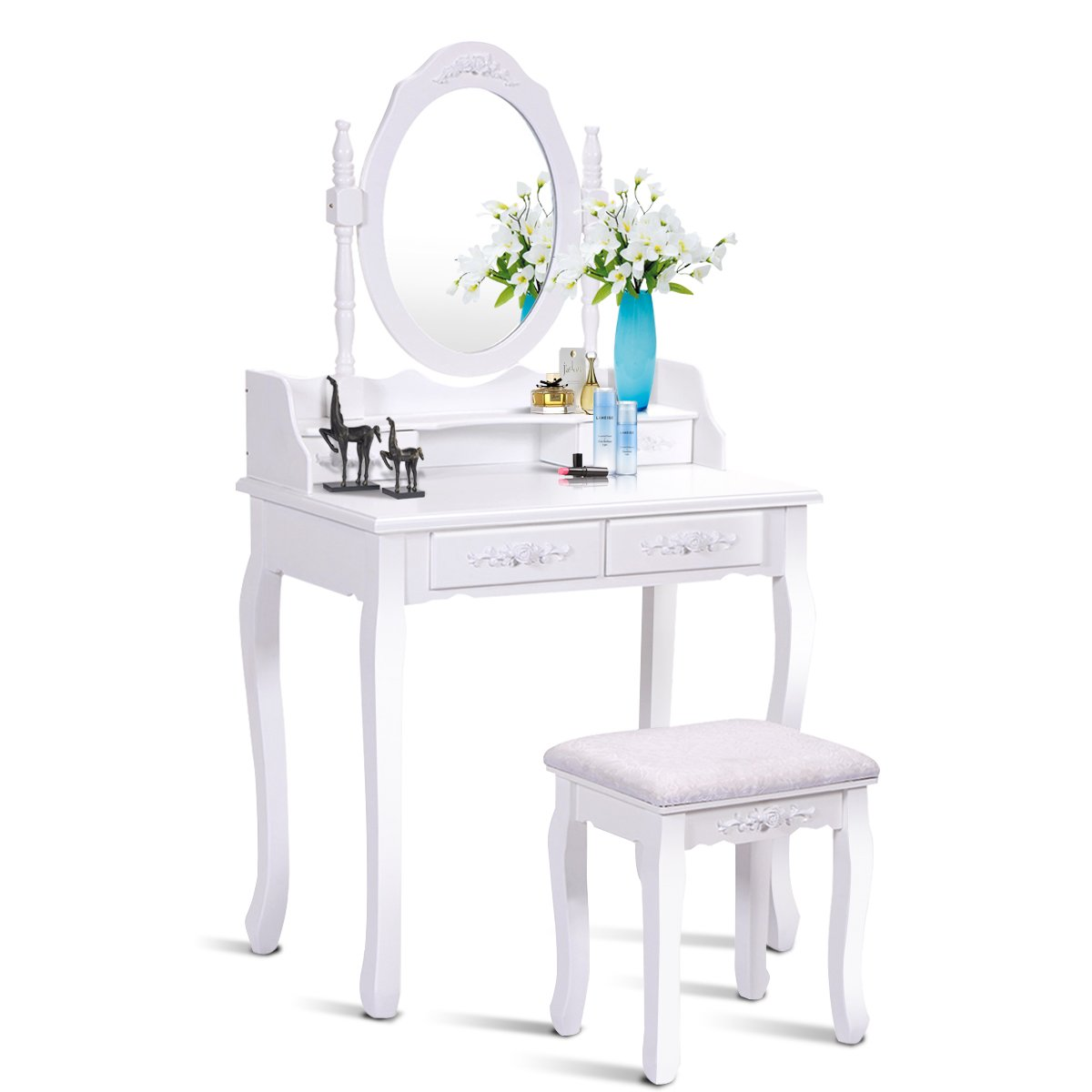 Giantex Vanity Set Dressing Table with Stool, Wood Makeup Bedroom Vanities Oval Mirror Cushioned Bench Removable Top Desk Cosmetics Organizers Easy Assembly, Dresser Vanity Tables w/ 4 Drawers, White