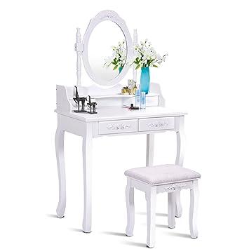 Amazoncom Giantex Vanity Set Dressing Table With Stool Wood - Bedroom-vanity-set-plans