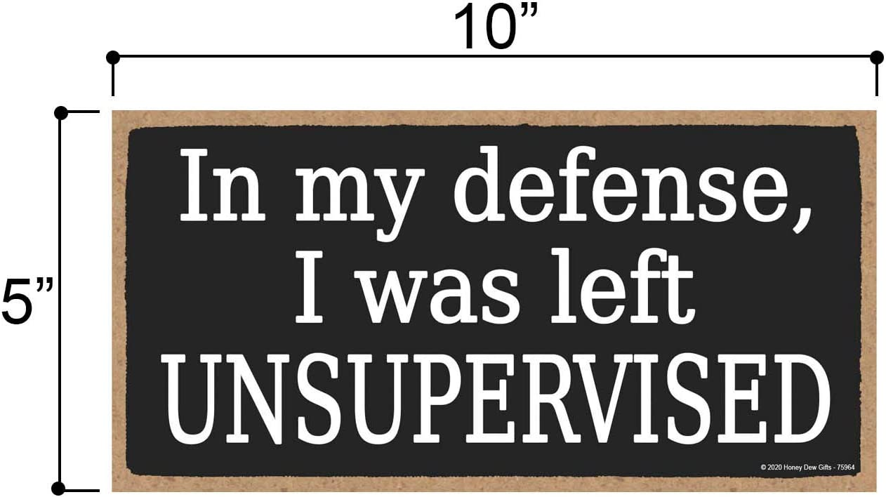 Wall Art in My Defense I was Left Unsupervised 5 inch by 10 inch Hanging Wood Sign Honey Dew Gifts Funny Wooden Sign Home Decor