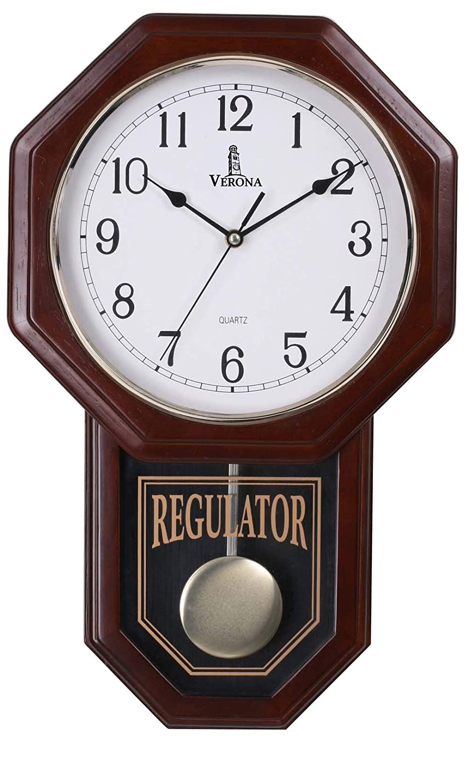 "Best Pendulum Wall Clock, Silent Decorative Wood Clock with Swinging Pendulum, Battery Operated, Schoolhouse Regulator Wooden Design, For Living Room, Bathroom, Kitchen & Home Décor, 18"" x 11.25"""