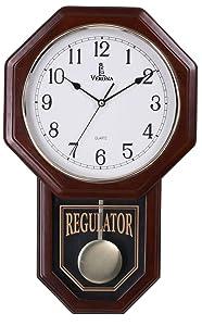 "Best Pendulum Wall Clock, Silent Decorative Wood Clock with Swinging Pendulum, Battery Operated, Schoolhouse Regulator Wooden Design, For Living Room, Bathroom, Kitchen & Home Décor, 18"" x 11.25"""