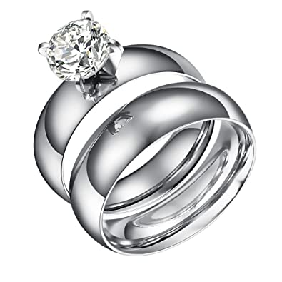 Lanyjewelry Wide Band Big 3.5 Carat Solitaire CZ Womens Stainless Steel Wedding Ring n4fNJ