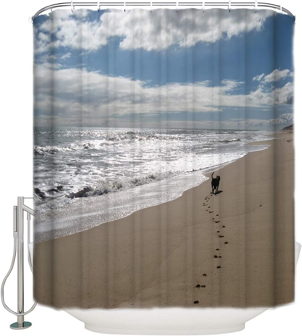 Puppy Walking on The Beach Love Home Sea Animal Printed Shower Curtain Contemporary Shower Curtains Bathroom Decor Set with Hooks 36 x 72 Inches
