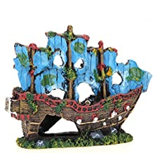 Chinatera Aquarium Decoration Ornament Sailing Boat Ship Destroyer Fish Tank Cave Decoration