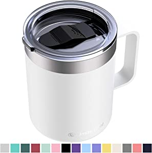 Umite Chef Stainless Steel Insulated Coffee Mug Tumbler with Handle, 12 oz Double Wall Vacuum Tumbler Cup with Lid Insulated Camping Tea Flask for Hot & Cold Drinks(White)