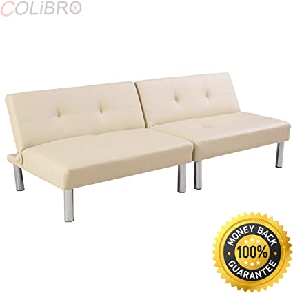 COLIBROX  Folding PU Leather Futon Convertible Sofa Sleeper Bed Living Room  Beige NEW.