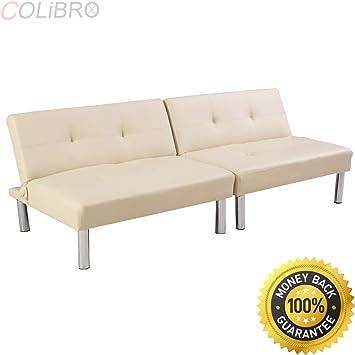 Amazon.com: COLIBROX--Folding PU Leather Futon Convertible Sofa ...