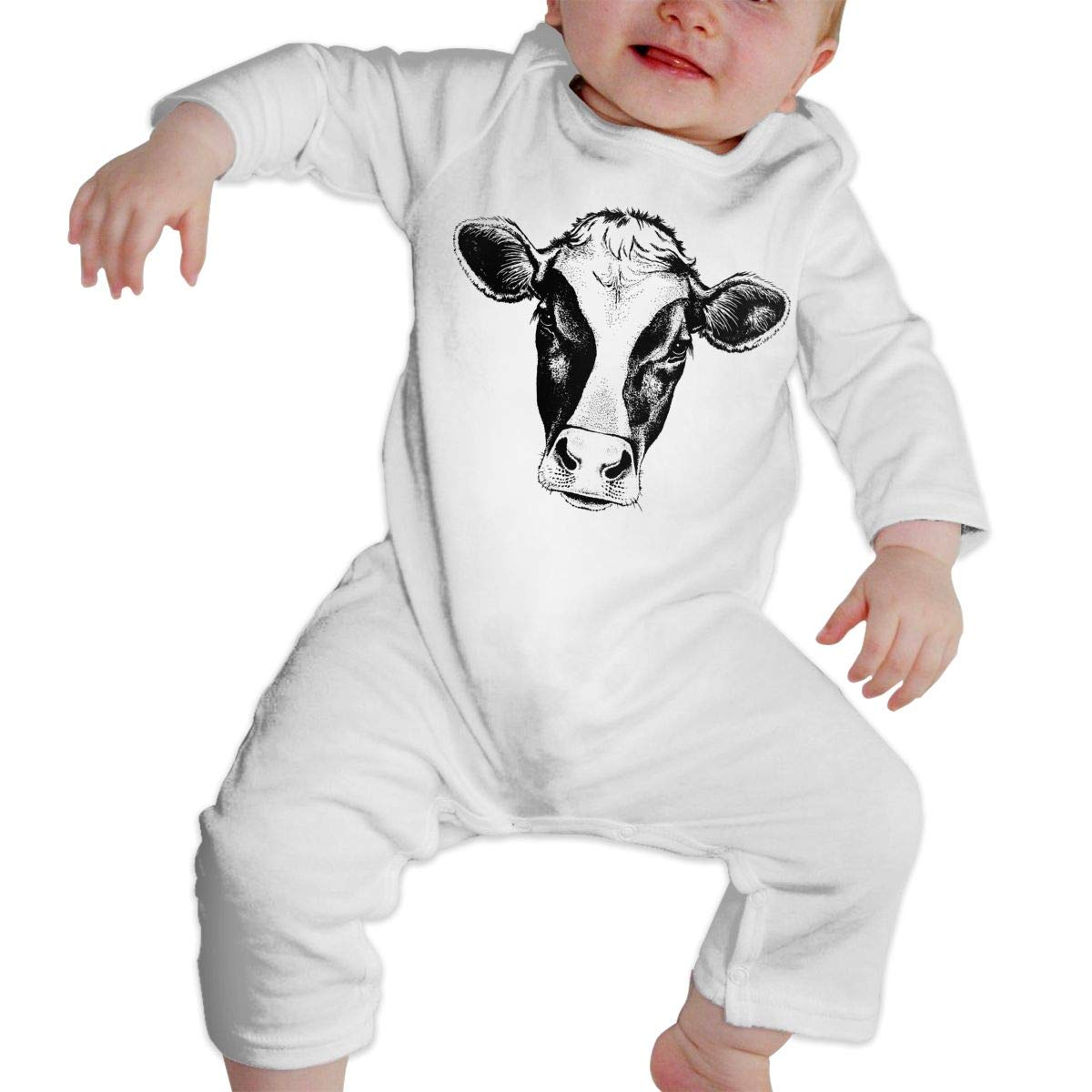 Mri-le1 Baby Girls Jumpsuit Face of A Cow Kid Pajamas