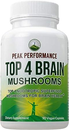 Mushroom Supplement - Top 4 Organic Brain Health (USA Grown) Mushrooms. Vegan Capsules with Lions Mane, Reishi, Cordyceps, Enoki. Extract Blend Nootropic Complex Pills for Focus, Memory, Cognition