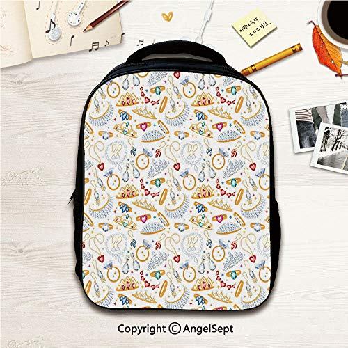 Fashion Design Cute Preschool Backpack,Pattern with Accessories Diamond Rings and Earring Figures Image Digital Print Decorative White Yellow 12.2inches,For Polyester Casual Lightweight Travel School