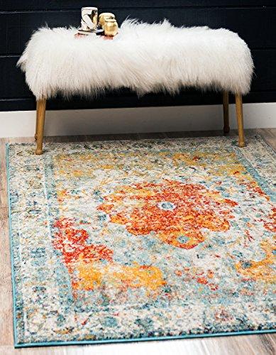 Unique Loom Rosso Collection Vintage Traditional Distressed Orange Area Rug (4