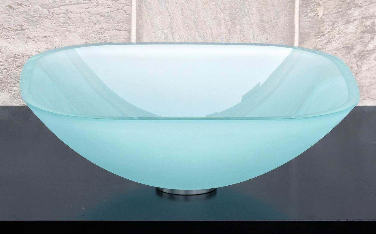 1 2 Thick Bathroom Frosted Square Glass Vessel Vanity Sink with free drain ring