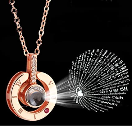 Dtjscl Ladies necklaceNew Products on The 100 Languages I Love You Projection Pendant Necklace Romantic Love Memory Wedding Jewelry