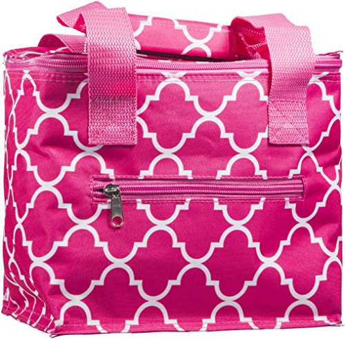 Home Essentials Pink & White Fret Pattern Insulated Lunch Tote