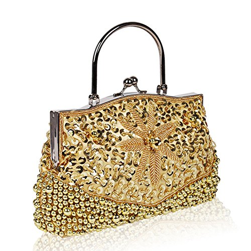 Gold QJAIQQ Cheongsam Evening Slung Pink Handbag Vintage Shoulder Portable Bag Package Beaded q1wBPF