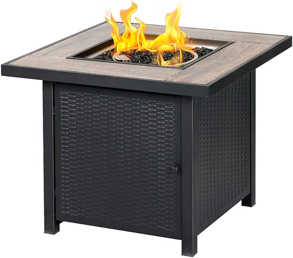 BALI OUTDOORS Propane Gas Fire Pit Table, 30 inch 50,000 BTU Square Gas Firepits with Fire Glass for Outside