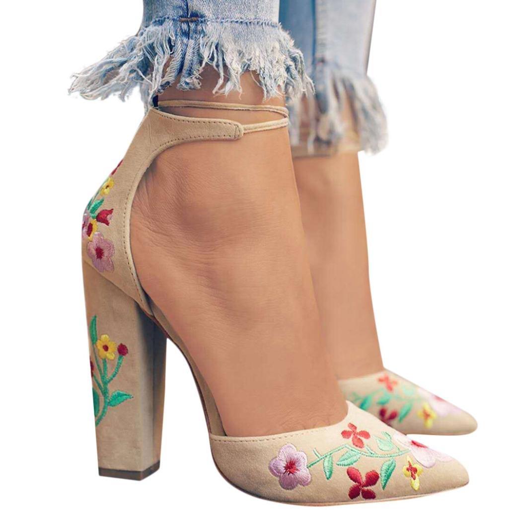 FORUU Women Wildflower Embroidery with Crude High-Heeled Pointed Toe Shoes (39, Khaki)