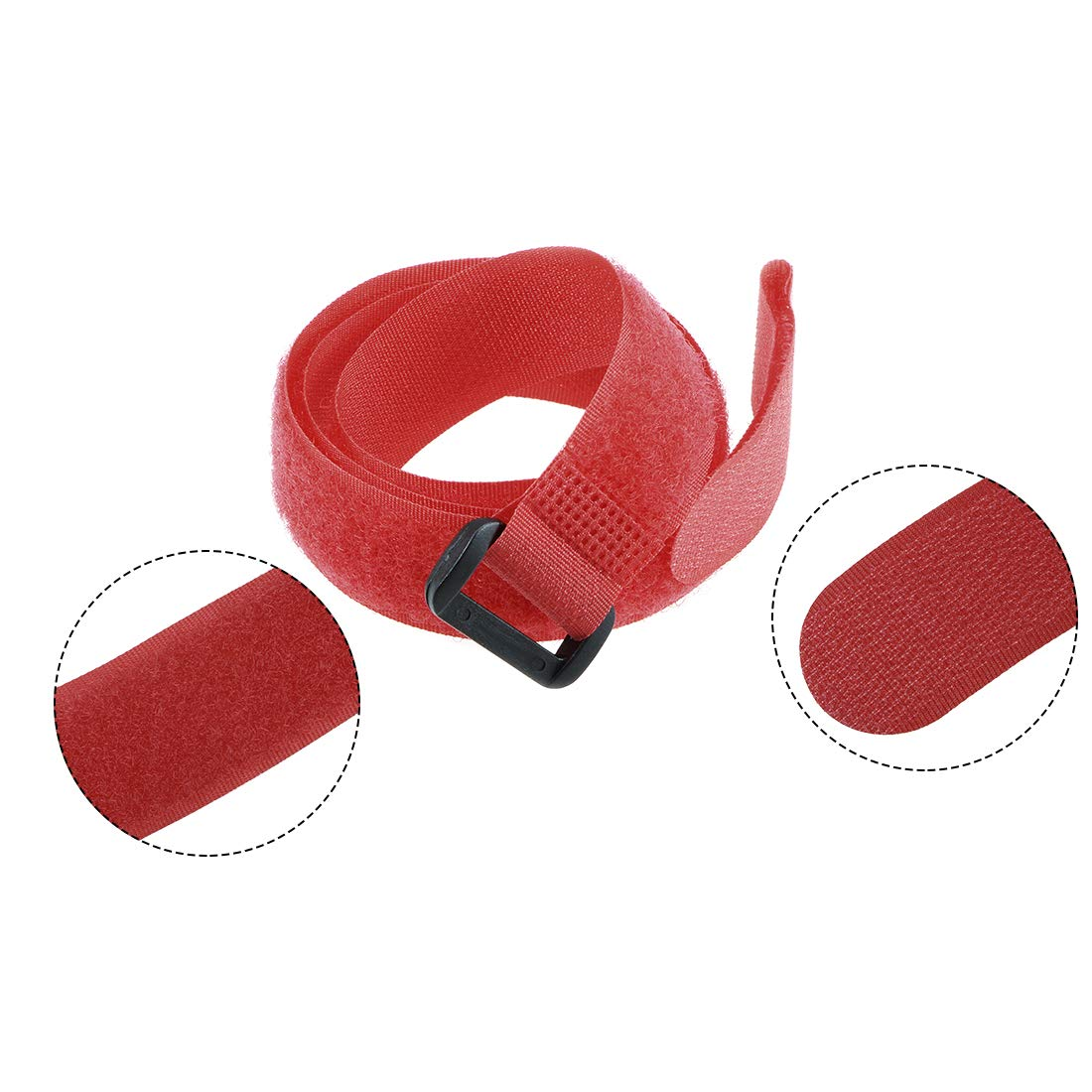 uxcell 5PCS RC Lipo Battery Straps 20x550mm Nylon Kundled Straps Non-Slip for Electronic Wires and Other Items Red