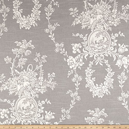 (WAVERLY Country House Toile Fabric, Platinum)