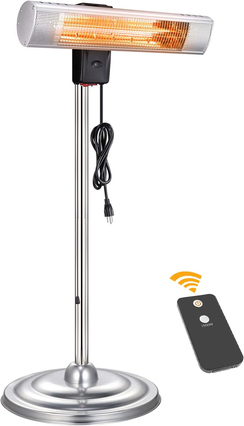 Kismile Outdoor Electric Patio Heater, Freestanding Infrared Heater with Height Adjustable,Remote Control for Patio,Lawn,home and Garden