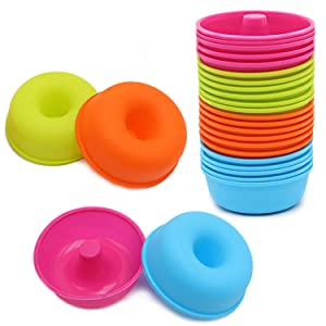 24Pcs Silicone Donut Pans for Baking To encounter Nonstick Round Doughnut Muffin - Cupcake Molds BPA Free 2.5 ounces Bagel Pan Dishwasher - Oven - Microwave - Freezer Safe