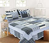 All for You 3pc Reversible Quilt Set, bedspread, coverlet-reversible-antique/classic blue patchwork print (king)