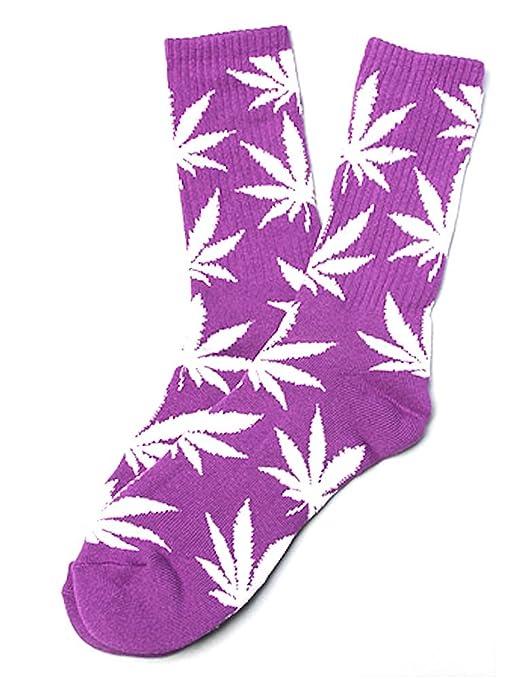 Calcetines con diseño de marihuana, color morado con hojas blancas