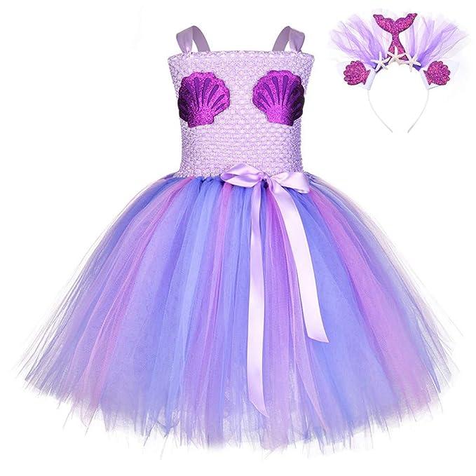 FONLAM Vestido Disfraz de Sirena Niña Bebé Vestido Tutú Princesa Bautizo Fiesta Niña Carnaval Halloween