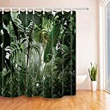 NYMB Tropical Plants Decor Jungle Green Banana Leaves Shower Curtain 69X70 inches Mildew Resistant Polyester Fabric Bath Curtain Fantastic Decorations Hooks included (69X70, Multi 17)
