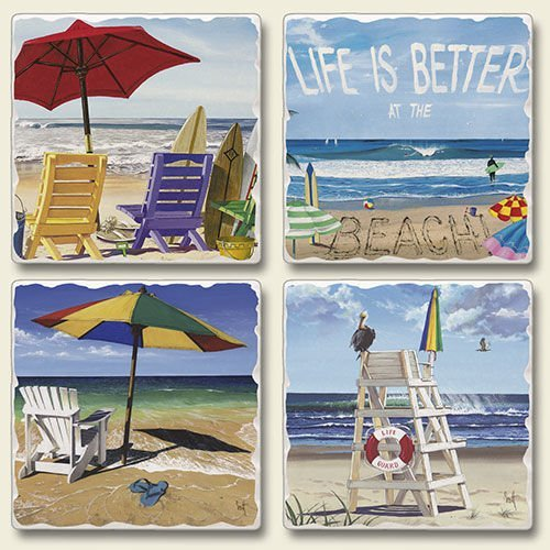 Collection Stone Set Coaster (Coaster Set - Life Is Better At the Beach Set of Four Stone Coasters - Coastal Coasters - Beach Coasters)