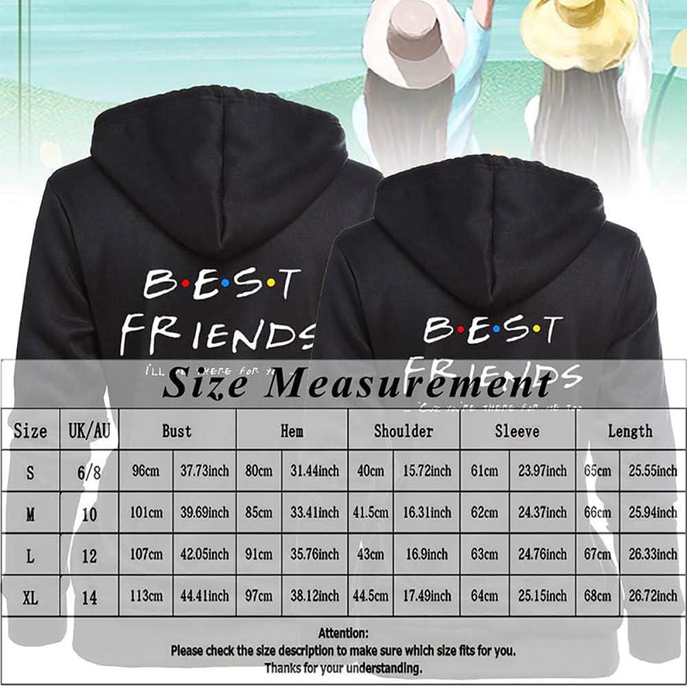 JackFum Best Friends Hoodies for 2 Girls BFF Matching Sweatshirt Sister Couple Hooded Pullover for Teen Girls