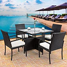 Tangkula 5 PCS Patio Dining Table Set Outdoor Lawn Backyard Pool Balcony Garden Wicker Rattan Furniture Set with Cushioned Seat, Glass Top Square Table
