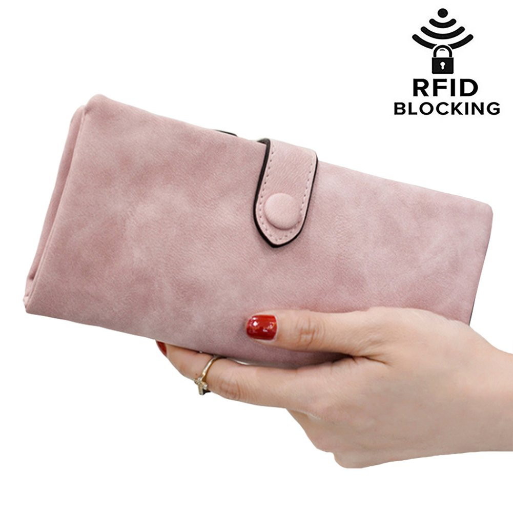 RIFD Blocking Leather Wallet Card Holder Cute Coin Pocket Change Cash Organized Large Space Zipper Ladies Travel Purse for Women Girls (Pink)