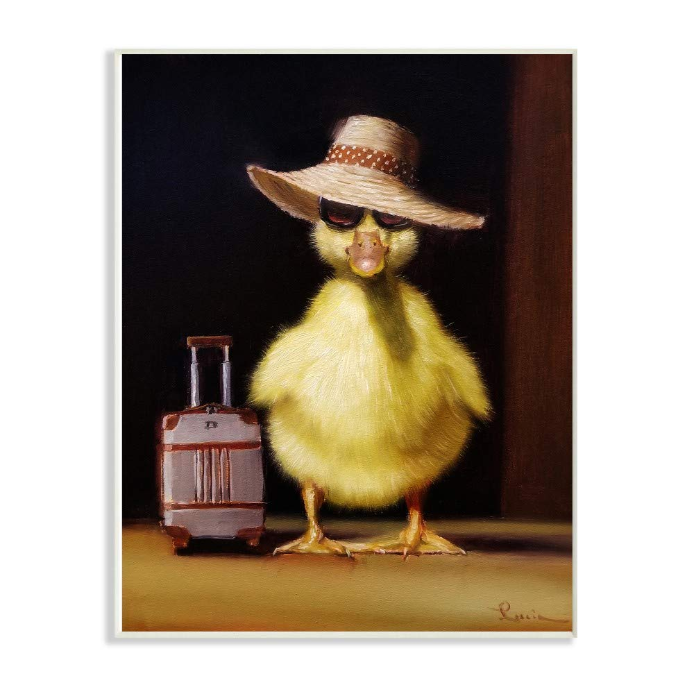 The Stupell Home Decor Collection Little Vacation Chick Ready to Travel Painting Stretched Canvas Wall Art 24x30 Multi-Color