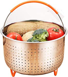 Original Steamer Basket Stainless Steel for Instant Pot, Vegetable Steamer Basket for 6 or 8 Quart Pressure Cooker, Steamer Insert with Silicone Covered Handle