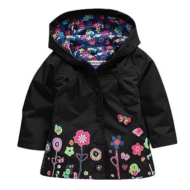 264f3a5d0a39 Amazon.com  BYLIKE Children Floral Hooded Waterproof Raincoat ...