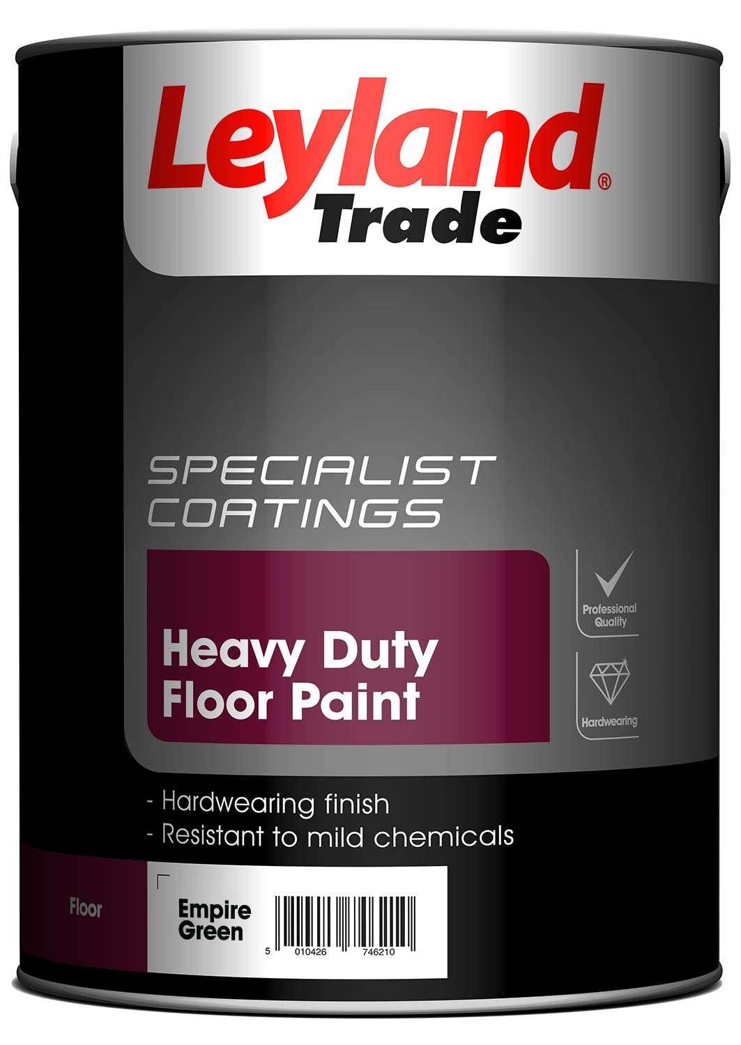 Leyland Trade 264614 Heavy Duty Floor Paint, Empire Green, 5 PPG