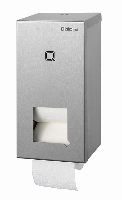 QBIC Sistema de Line – Acero inoxidable – Dispensador de papel higiénico para 2 rollos