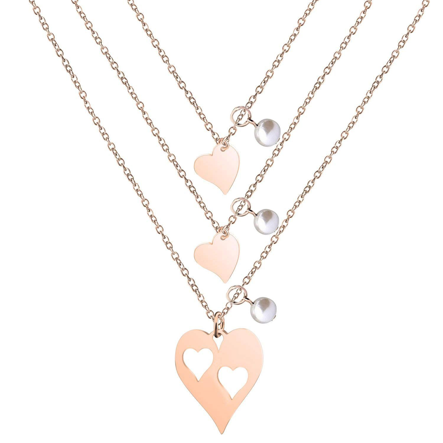 BNQL Rose Gold Mother Daughter Heart Cutout Necklace Set Pearl (Cutout 2 Heart Necklace)