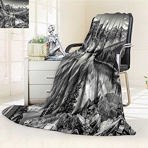 YOYI-HOME Digital Printing Duplex Printed Blanket Black and White Mountain Creek Lake by The Hills Canadian Rocky Valley Peaceful Landscape Grey Summer Quilt Comforter /W47 x H79