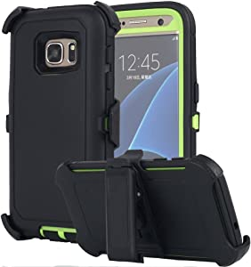 Galaxy S7 Case, AICase [Heavy Duty] [Full Body] Tough 4 in 1 Rugged Shockproof Cover with Belt Clip Armor Protective Cover for Samsung Galaxy S7 (2016) (Black/Green)