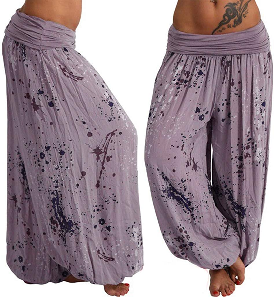 JOFOW Womens Bloomers Harem Pants Dye Splash Print Loose Long Yoga Trousers