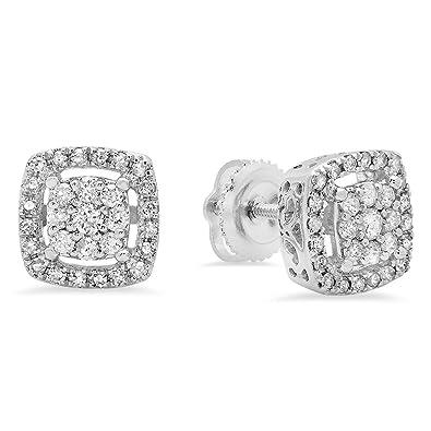 cae51ddda4 Amazon.com: Dazzlingrock Collection 0.50 Carat (ctw) 10K Round White Diamond  Ladies Cluster Style Stud Earrings 1/2 CT, White Gold: Jewelry