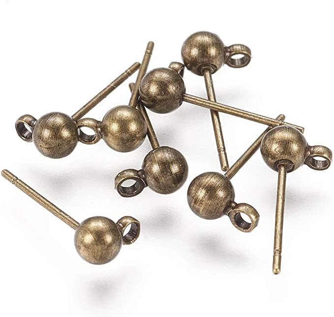 2pcs Surgical PostDangle Balls Stud Earrings23x3.2mm include ring E0215Anti-Tarnished Gold Plating Over Brass