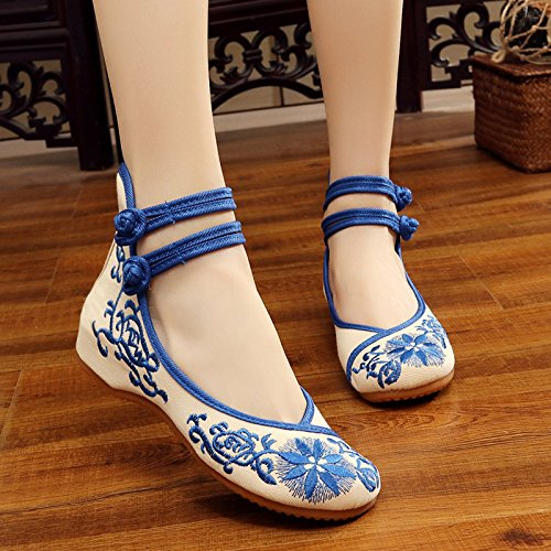 NGRDX Embroidered Chinese Women'S Shoes Shoes amp;G Espadrilles Women'S Sunflower Retro Women'S Shoes Casual blue Flat xRRr10