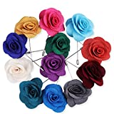 Rhungift Flower Lapel Pin, Handmade Rose and Golden Leave Brooch Boutonniere for Men Women Suit(Pack of 12) (style2)