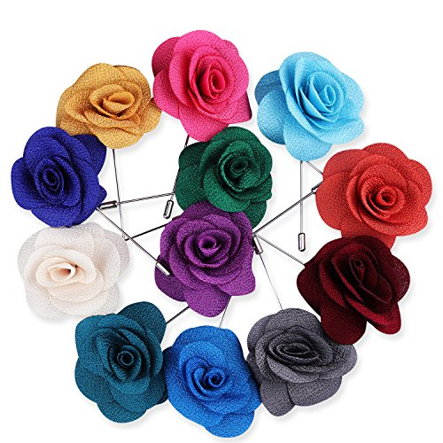 Rhungift Flower Lapel Pin, Handmade Rose and Golden Leave Brooch Boutonniere for Men Women Suit(Pack of 12) (style2) ()